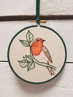 Embroidered_Robin handmade christmas gift