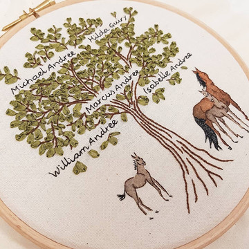 Family Tree embroidery gift