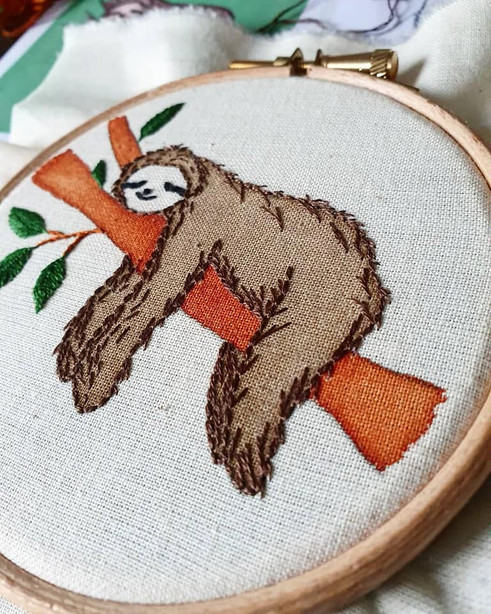 Sloth personalised embroidery gift
