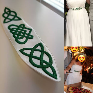 wedding dress embroidery celtic irish handmade