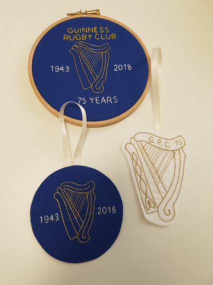 Guinness Rugby Club embroidery decorations