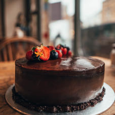Vegan double chocolate birthday cake