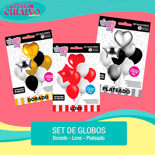 "Set globo ""Dorado, Love, Plateado"""