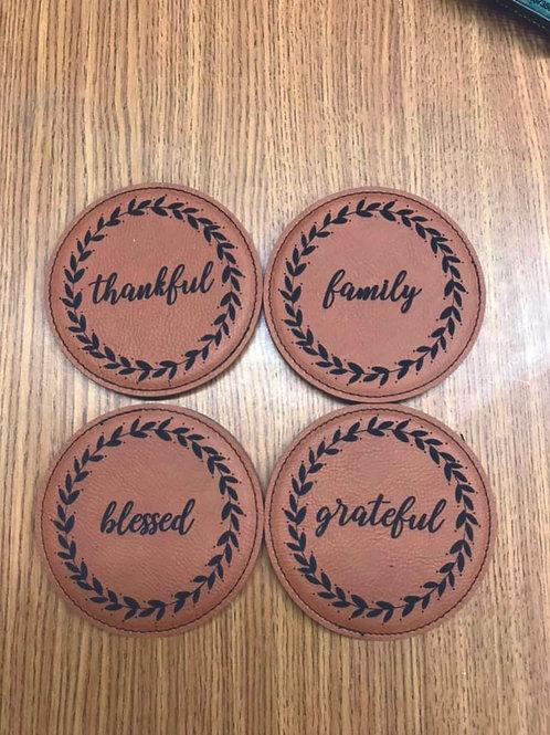 Leather Coaster Thankful