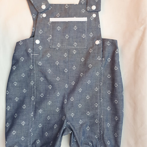 Salopette clipsée en chambray denim