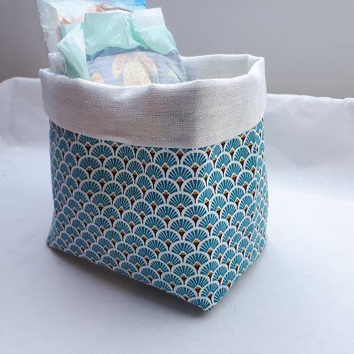 Panière , tissu japonais bleu