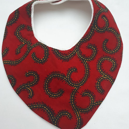 Bandana/snood velours de bambou /wax rouge