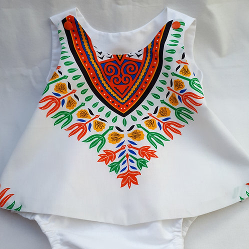 Barbot'dress en wax Dashiki orange/vert