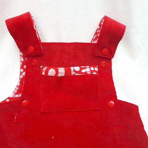 Salopette en velours de coton rouge et wax