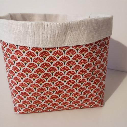 Panière tissu japonais rouge