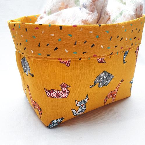 """Panière """"origami jaune"""""""