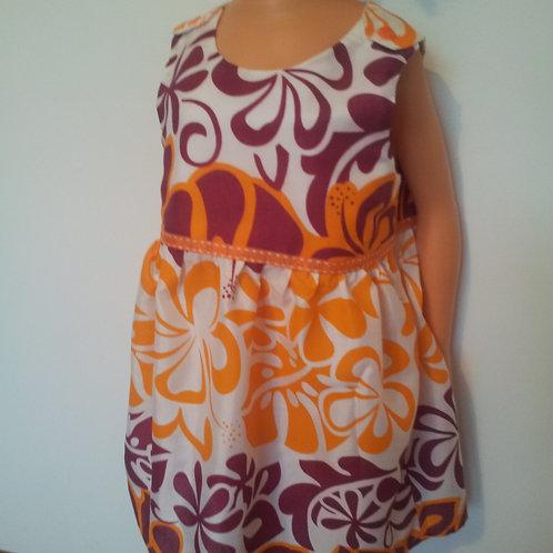 Robe et bloomer, tissu polynésien orange/prune