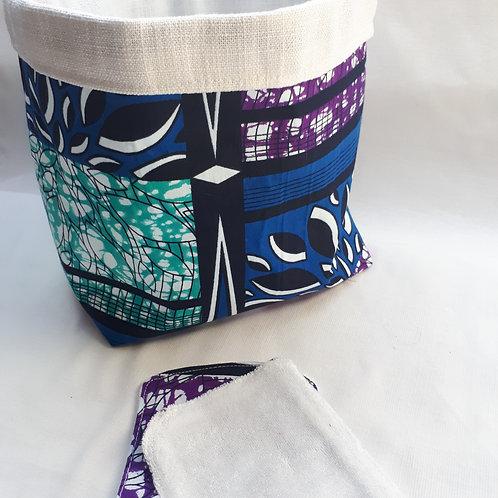 Panière et lingettes en wax turquoise/violet