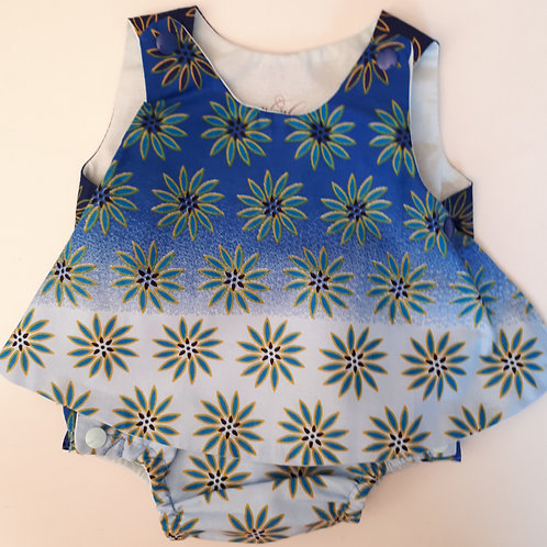 Barbot'dress en wax bleu fleuri