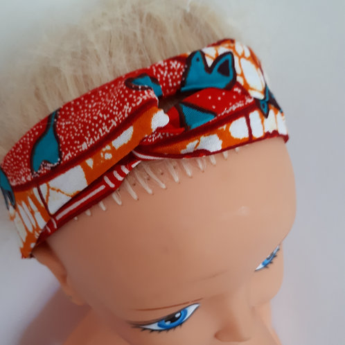 Bandeau de tête en wax orange/rouge