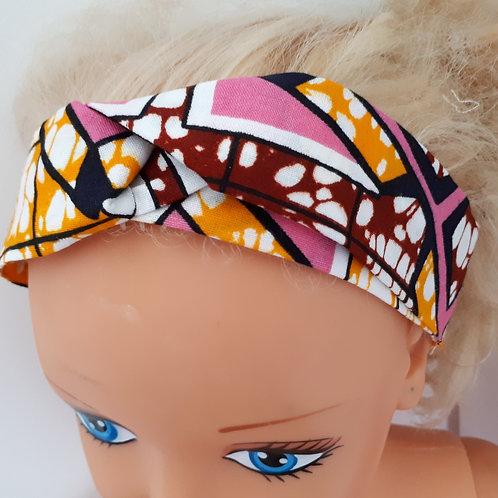 Bandeau de tête en wax rose/orange
