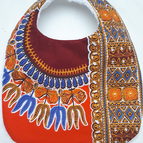 Bavoir, wax Angelina/dashiki orange