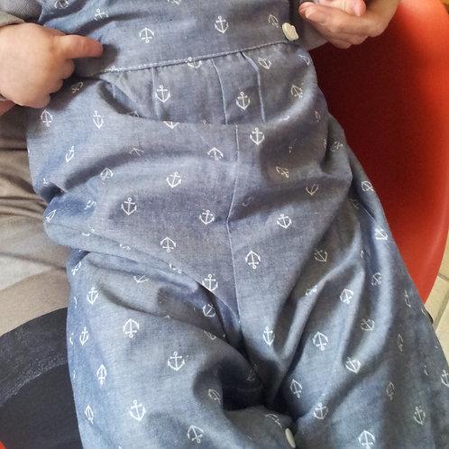 Salopette clipsée en imprimé jeans/ancres de marine