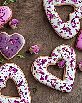 Festive cookies in the shape of hearts a