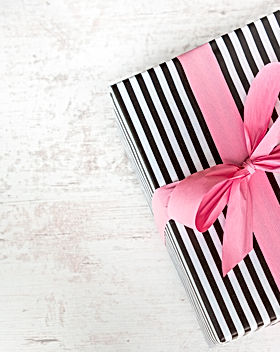 Gift box wrapped in black and white stri