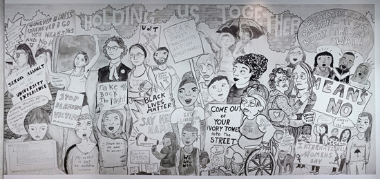 "Black and white drawing of campus protestors wearing t-shirts and holding signs ""Black Lives Matter"" ""Say Her Name"" ""Take Back the Night"" ""Smash Rape Culture"" ""Come Out of Your Ivory Tower into the Street"""