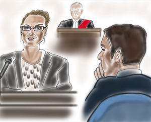 white woman with glasses testifying at her rape trial while the judge and the accused are listening
