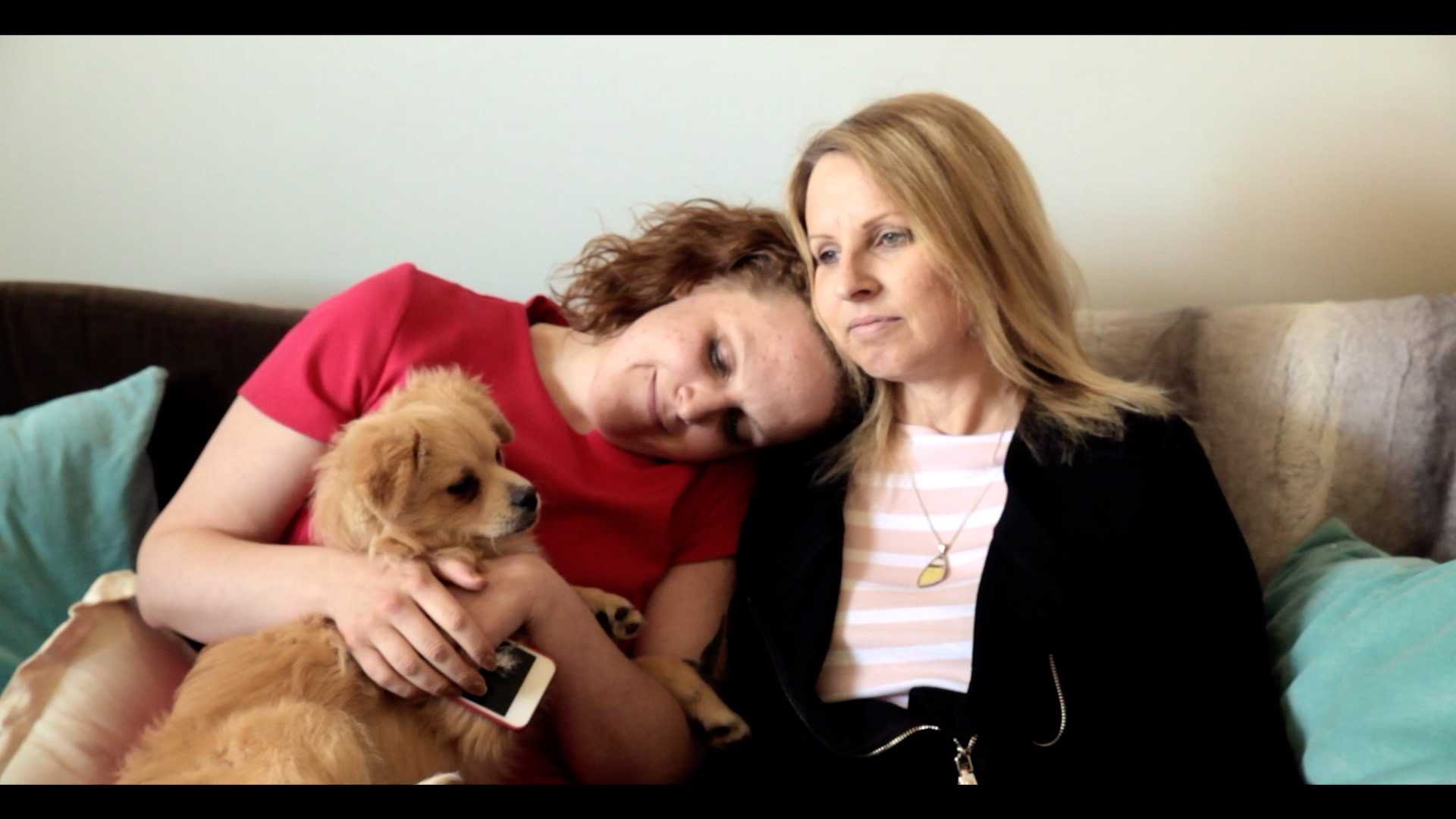 Mandi Gray and her mother Sheryl Gray decompress after a trial day.
