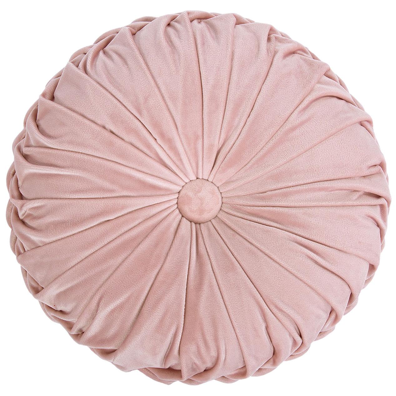 Round Pink Velvet Pillow (1)