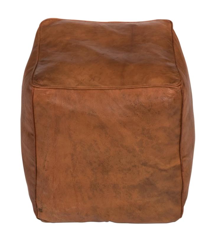 Square Leather Poufs (2)