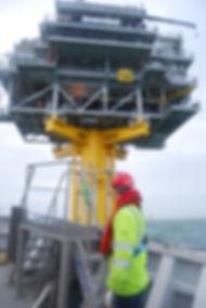 Offshore, preparing for boatlanding on the powerstation windfarm