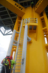 Ready to climb, checking the thetter lines windfarm offshore