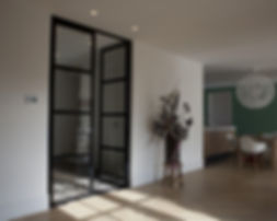 Dubbele deur staal zwart glas