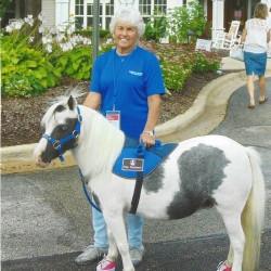 Carol w/mini therapy horse Serebella
