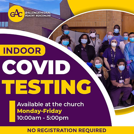 Indoor COVID Testing at GAC   Monday-Friday   10am-5pm