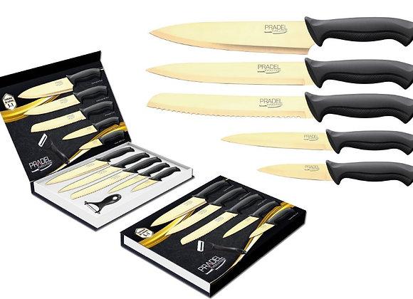 Coffret 5 couteaux PRADEL Lame revêtement titane