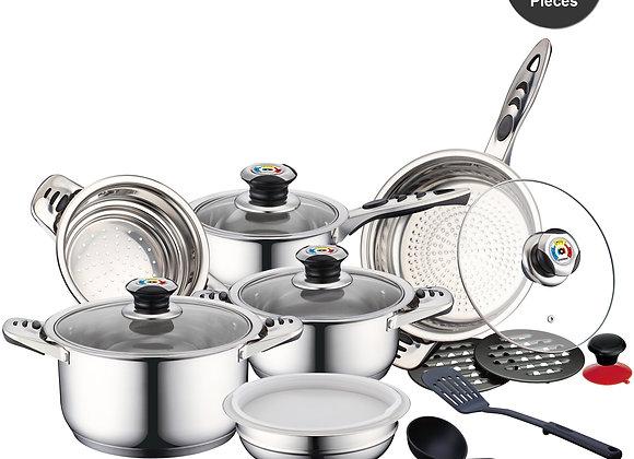 Batterie de Cuisine 16 pièces en Inox Avec Couvercle en Verre