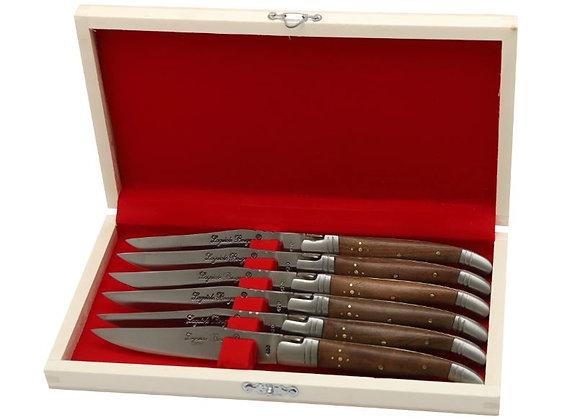 Coffret de 6 couteaux LAGUIOLE de table bois de noyer