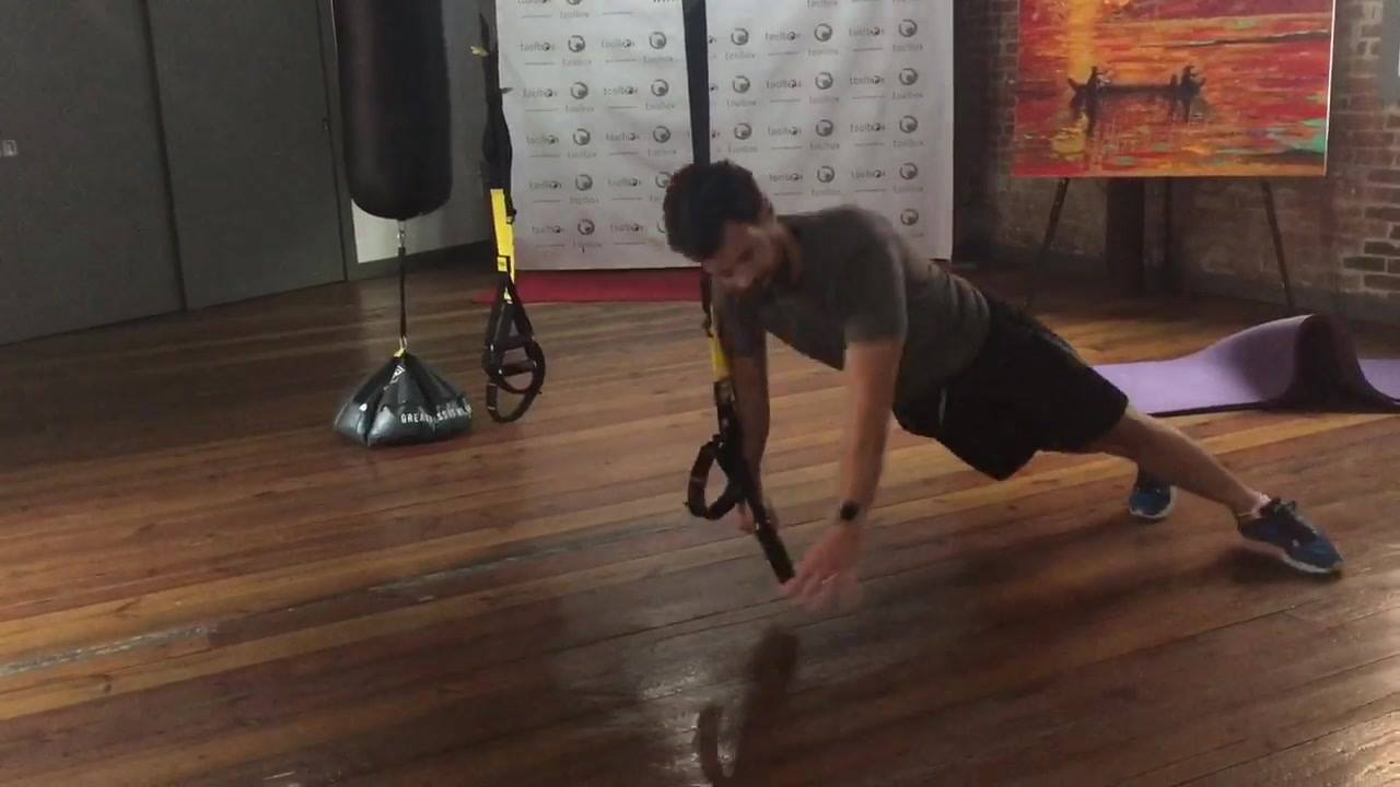 TRX single arm hip-hinge to a side plank.