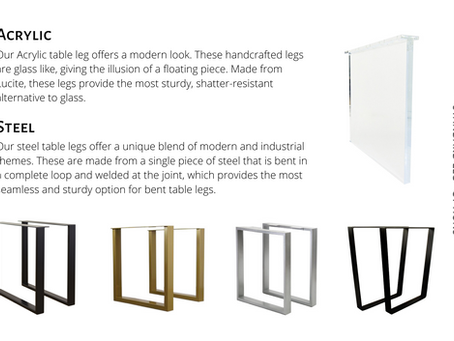 Table Base Options at Blowing Rock Woodworks