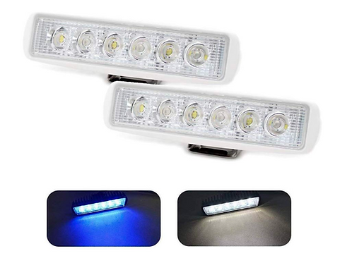 Pair of Dual Color Marine LED Spreader Flood Deck Light for Boat White Housing