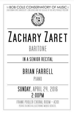 Zachary Miles Zaret in a Senior Recital