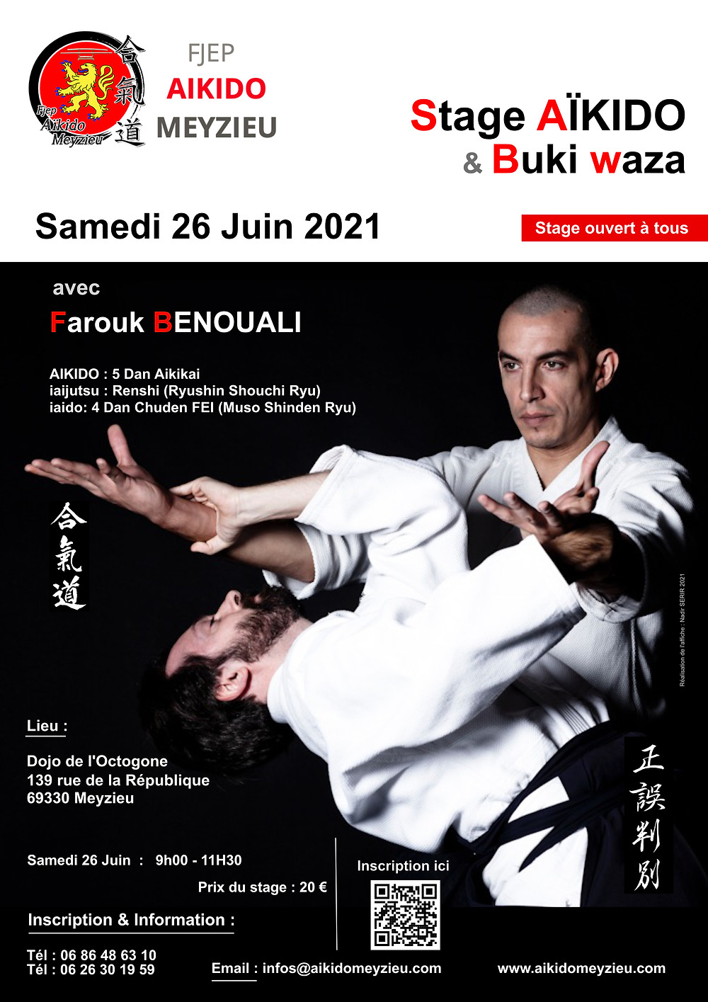 Affiche Stage Samedi 26 Juin 2021 de 9h00 à 11h30 avec Farouk BENOUALI