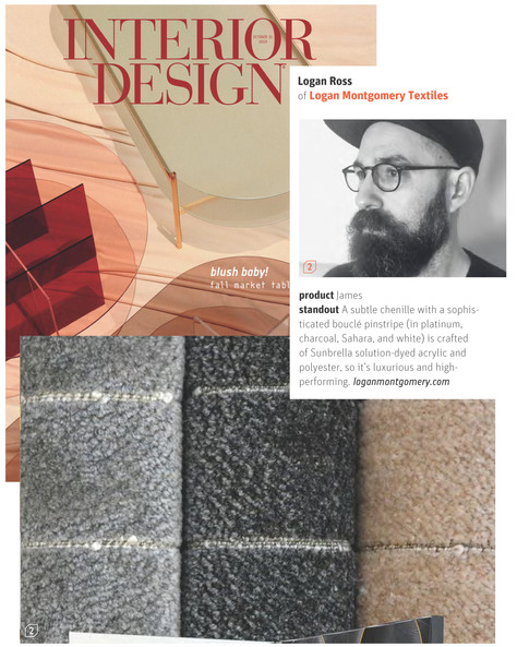 "Logan Montgomery Textiles Ediorial coverage of the ""James"" fabric in the 2019 Interdesign Magazine Fall Market Tabloid. Shown are Platinum, Charcoal and Sahara. Also available in White"