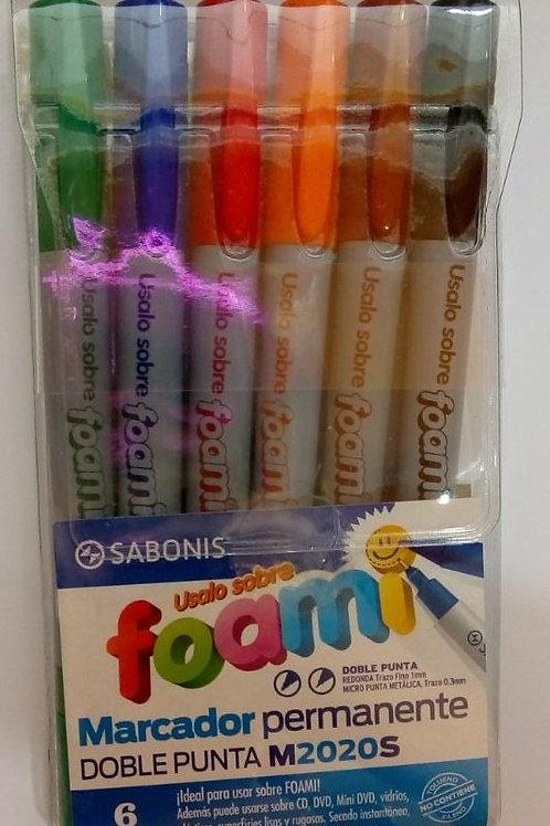 Marcador permanente Foami de 6 colores.