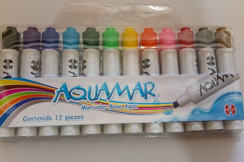 Marcador Aquamar, 12 piezas, marca agua.