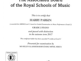 Well done to piano student Harry for achieving a distinction in his Grade 2 exam!