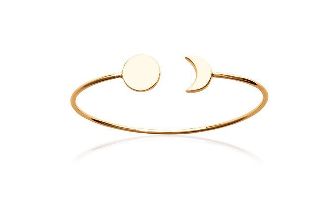 Bracelet lune et soleil jonc plaqué or