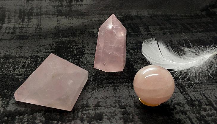 Quartz rose TRIO chakra coeur - pyramide, pointe, sphère