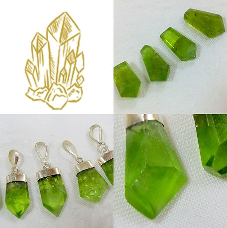 péridot, péridot brut, péridot poli, péridot pierre pour lithothérapie et bijoux.
