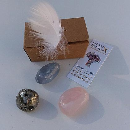 Trio quartz rose, célestine et pyrite - expression sereine de soi